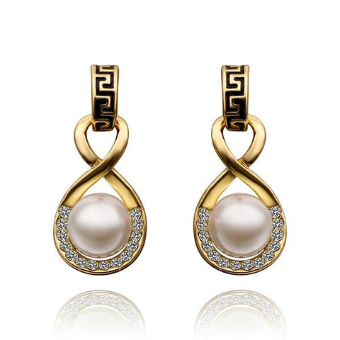 18K Gold Drop Down Earring with Pearl Center Made with Swarovksi Elements - rubiquejewelry.com