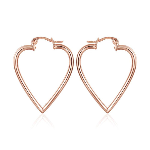 18K Rose Gold Angular Heart Shaped Earrings Made with Swarovksi Elements - rubiquejewelry.com
