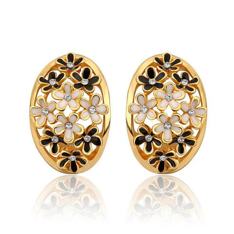 18K Gold Onyx Inline Design Studs Made with Swarovksi Elements - rubiquejewelry.com