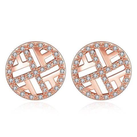Rose Gold Plated Classic Circular Stud Earrings - rubiquejewelry.com