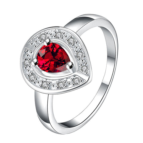 Ruby Red Curved Pendant Petite Ring - rubiquejewelry.com