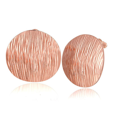 18K Rose Gold Curved Surface Stud Earrings Made with Swarovksi Elements - rubiquejewelry.com