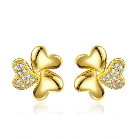 18K Gold Abstract Clover Stud Earrings Made with Swarovksi Elements - rubiquejewelry.com