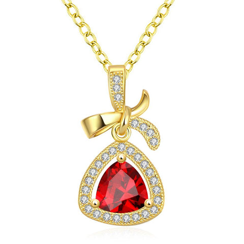 Gold Plated Classic Triangular Necklace - rubiquejewelry.com