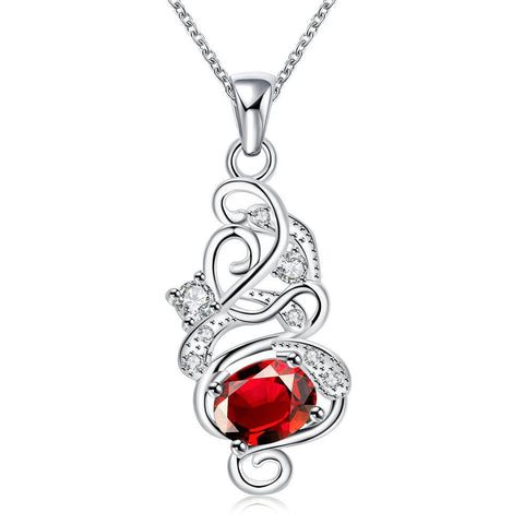 Spiral Ruby Red Emblem Drop Necklace - rubiquejewelry.com