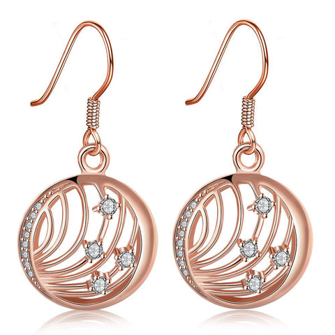 Rose Gold Plated Laser Cut Wire Jewels Drop Down Earrings - rubiquejewelry.com