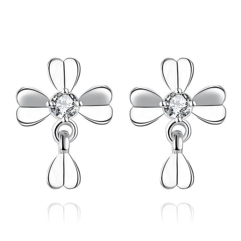 White Gold Plated Classic Modern Clover Stud Earrings - rubiquejewelry.com