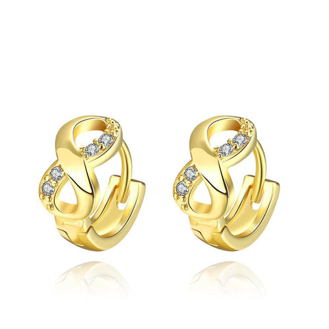 Gold Plated Infinite Swirls Mini Hoop Earrings - rubiquejewelry.com
