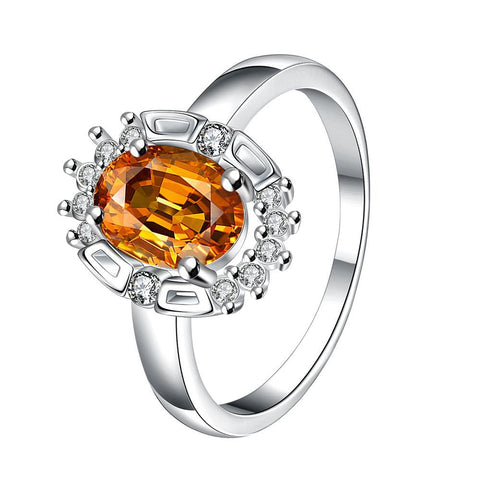 Yellow Citrine Gem Circular Jewels Ring - rubiquejewelry.com