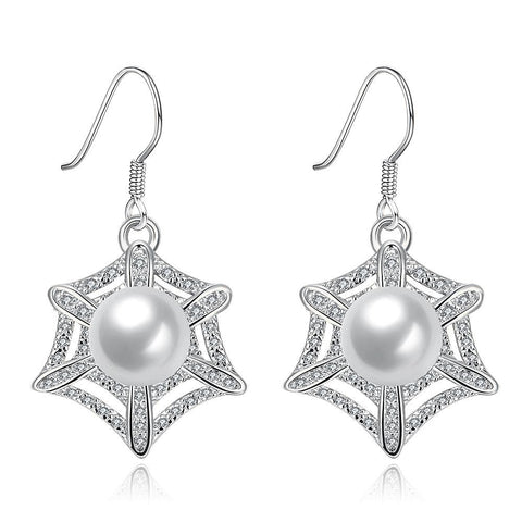 White Gold Plated Spider Web Design with Pearl Insert Drop Down Earrings - rubiquejewelry.com
