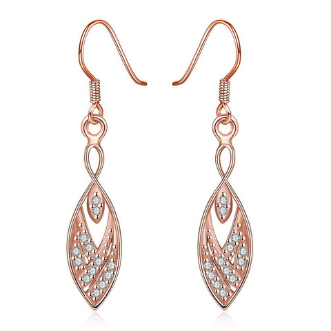 Rose Gold Plated Tree Branch Inspired Drop Down Earrings - rubiquejewelry.com
