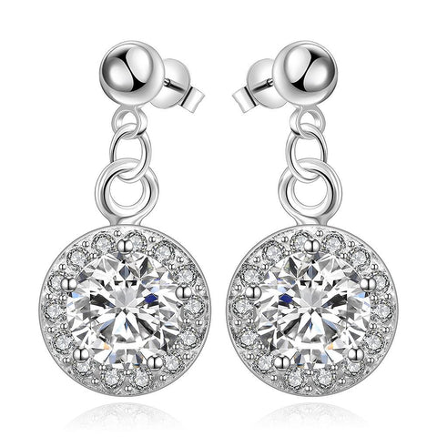 Sterling Silver Circular Crystal Stone Pendant Drop Earring - rubiquejewelry.com