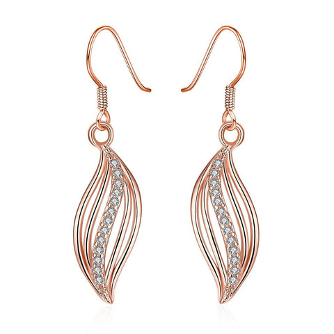 Rose Gold Plated Comet Inspired Drop Down Earrings - rubiquejewelry.com