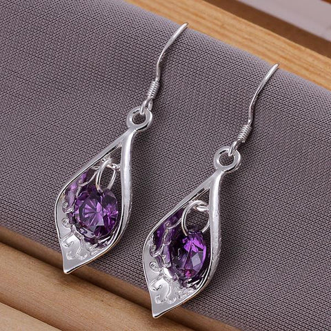 Sterling Silver Purple Citrine Triangular Drop Earring - rubiquejewelry.com