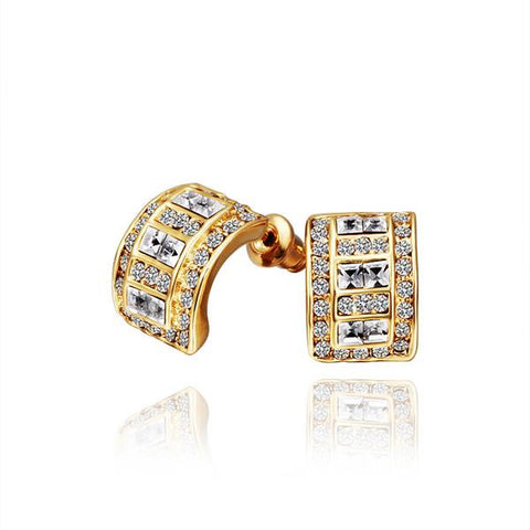 18K Gold 1/2 Hoop Earrings with Crystal Jewels Made with Swarovksi Elements - rubiquejewelry.com