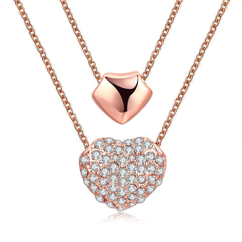 18K Rose Gold Plated Double Heart Necklace - rubiquejewelry.com