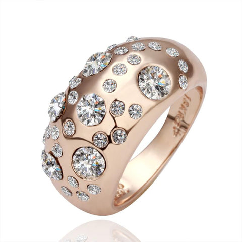 Rose Gold Plated Diamond Jewels Ring - rubiquejewelry.com