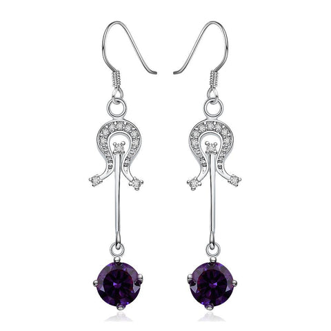 Sterling Silver Purple Citrine Center Drop Earring - rubiquejewelry.com