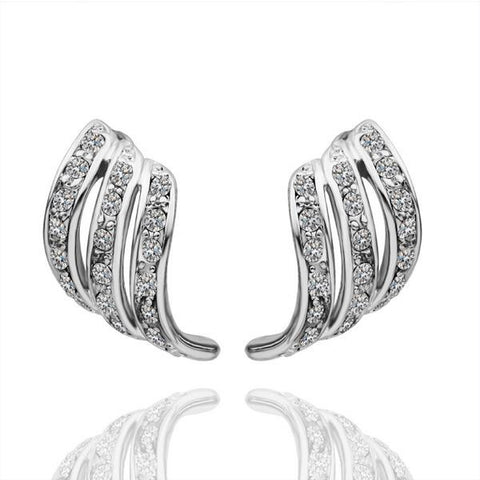 18K White Gold Abstract Drop Down Earrings with Crystal Jewels Made with Swarovksi Elements - rubiquejewelry.com
