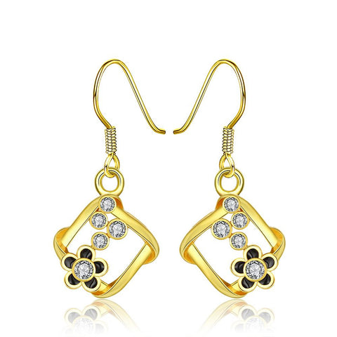 18K Gold Square Drop Down Earrings with Floral Petals Made with Swarovksi Elements - rubiquejewelry.com