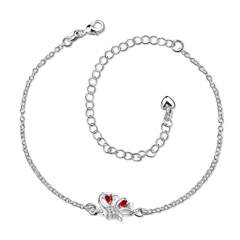 Mock Ruby Red Petite Butterfly Petite Anklet - rubiquejewelry.com