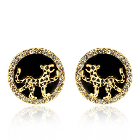 18K Gold Stud Earrings with Leopard Ingrain Made with Swarovksi Elements - rubiquejewelry.com