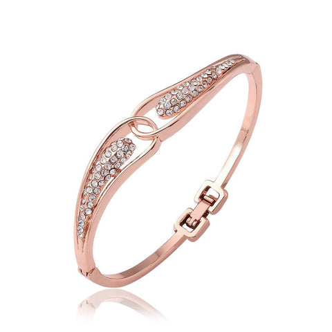 18K Rose Gold Circular Design Bangle with Swarovski Elements - rubiquejewelry.com