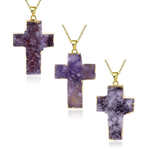 Amethyst Cross Natural Crystal Necklace - rubiquejewelry.com