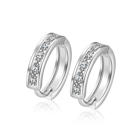 18K White Gold Plated Huggies Clip Earrings - rubiquejewelry.com