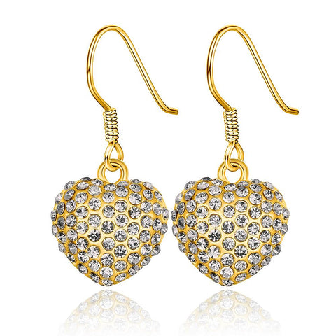 18K Gold Drop Down Heart Earrings Made with Swarovksi Elements - rubiquejewelry.com