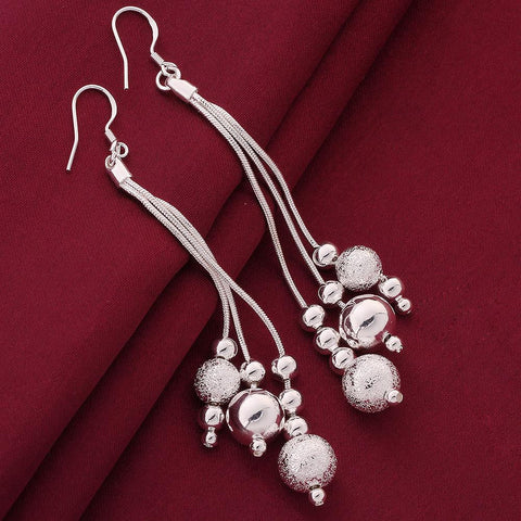Sterling Silver Grape Vine Drop Earring - rubiquejewelry.com