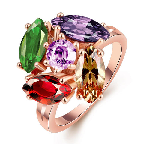 5 Piece Multi Gem Rose Gold Plated Ring - rubiquejewelry.com