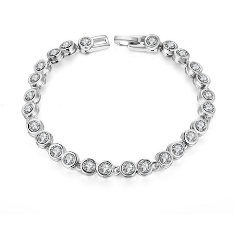 Around the World 18K White Gold Plated Bracelet by Rubique Jewelry