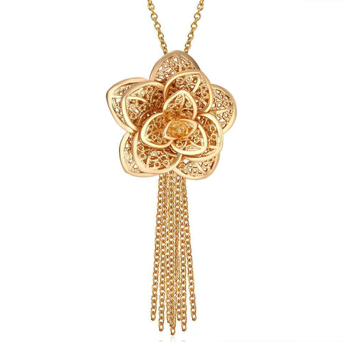 Gold Plated Floral Petal Tassle Necklace - rubiquejewelry.com