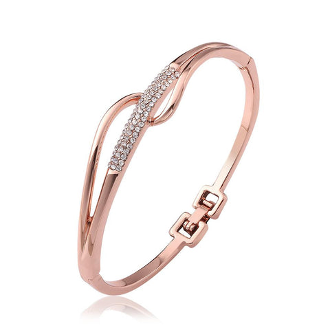 18K Rose Gold Abstract Intertwined Bangle with Swarovski Elements - rubiquejewelry.com