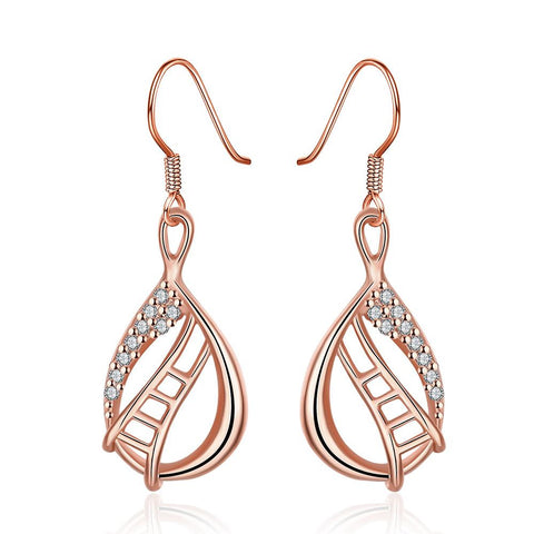 Rose Gold Plated Stairway to Heaven Drop Down Earrings - rubiquejewelry.com