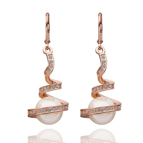 18K Rose Gold Drop Down Spiral Earrings Made with Swarovksi Elements - rubiquejewelry.com