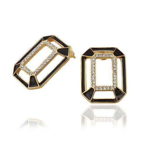 18K Gold Abstract Onyx Covering Studs Made with Swarovksi Elements - rubiquejewelry.com