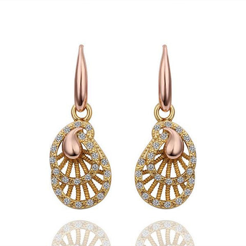 18K Gold Laser Cut Drop Down Earrings Made with Swarovksi Elements - rubiquejewelry.com