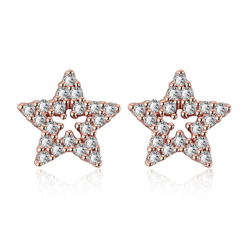 Rose Gold Plated Stars in the Sky Studs - rubiquejewelry.com