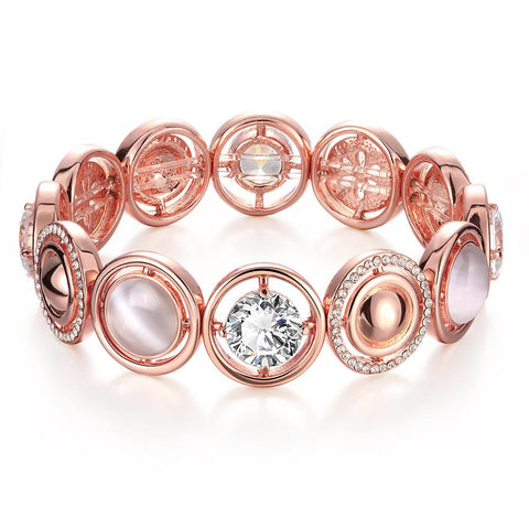 18K Rose Gold Bracelet Covered with Natural Gemstones with Swarovski Elements - rubiquejewelry.com