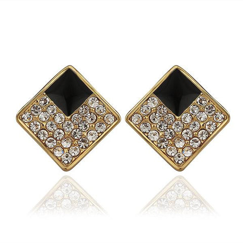 18K Gold Diamond Shaped Stud Earrings with Onyx Layering Made with Swarovksi Elements - rubiquejewelry.com