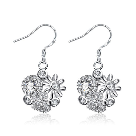 Petite Crystal Stone Blossoming Floral Drop Earrings - rubiquejewelry.com