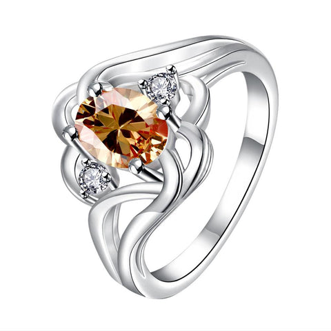 Orange Citrine Spiral Quad Design Classic Ring - rubiquejewelry.com