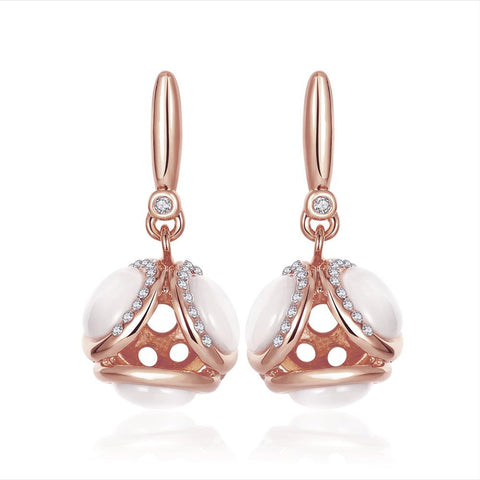 18K Rose Gold Double Side Pearls Drop Down Earrings Made with Swarovksi Elements - rubiquejewelry.com