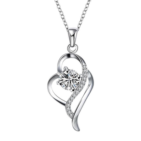 Crystal Stone Curved Hollow Heart Drop Necklace - rubiquejewelry.com