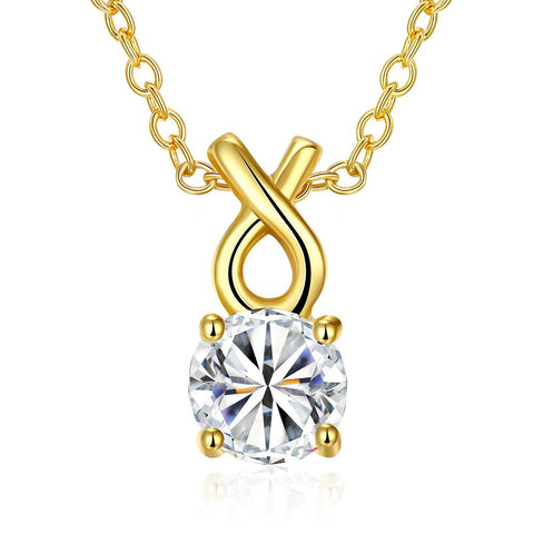 Gold Plated Classic Tiffany's Diamond Necklace - rubiquejewelry.com