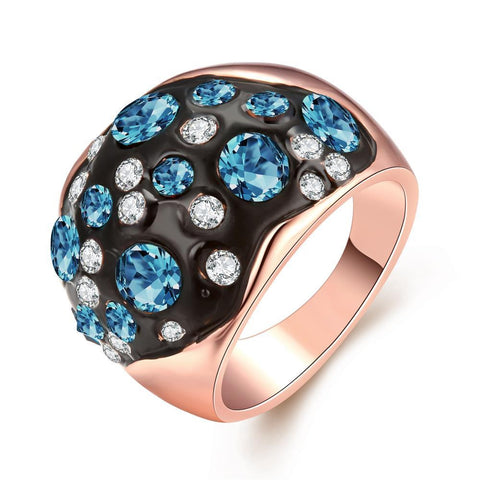 Rose Gold Multi-Blue Stone Ring - rubiquejewelry.com