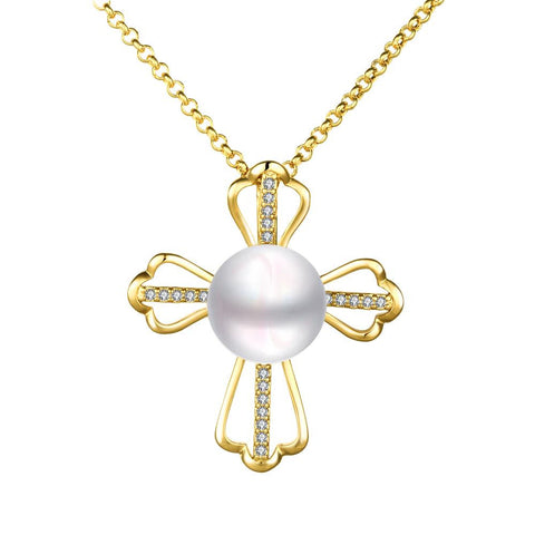 Petite Gold Plated Cultured Pearl Cross Necklace - rubiquejewelry.com