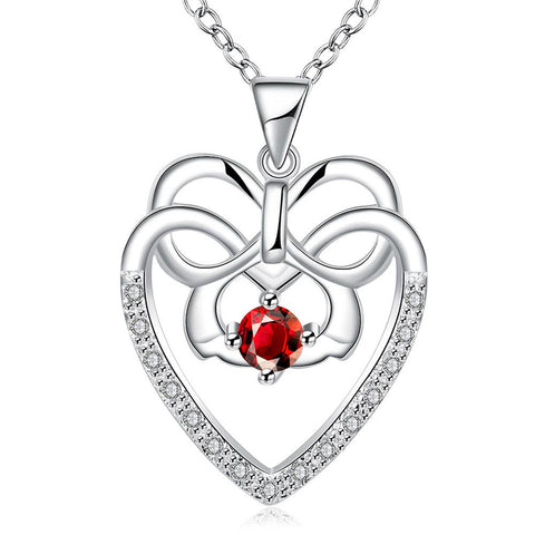 Hollow Spiral Heart Ruby Red Gem Drop Necklace - rubiquejewelry.com